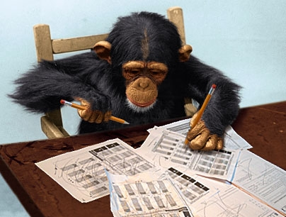 Picture of a chimpanzee doing math