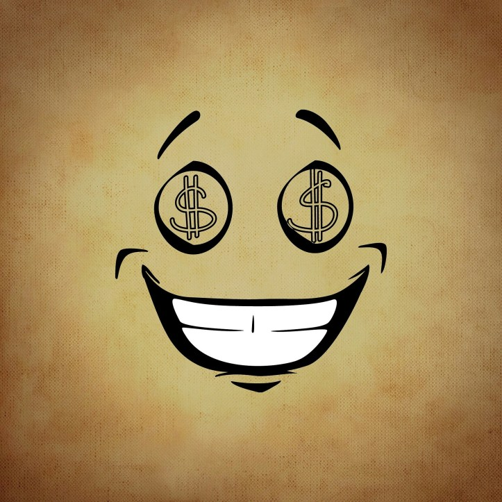 Smiley face with dollar signs for eyes