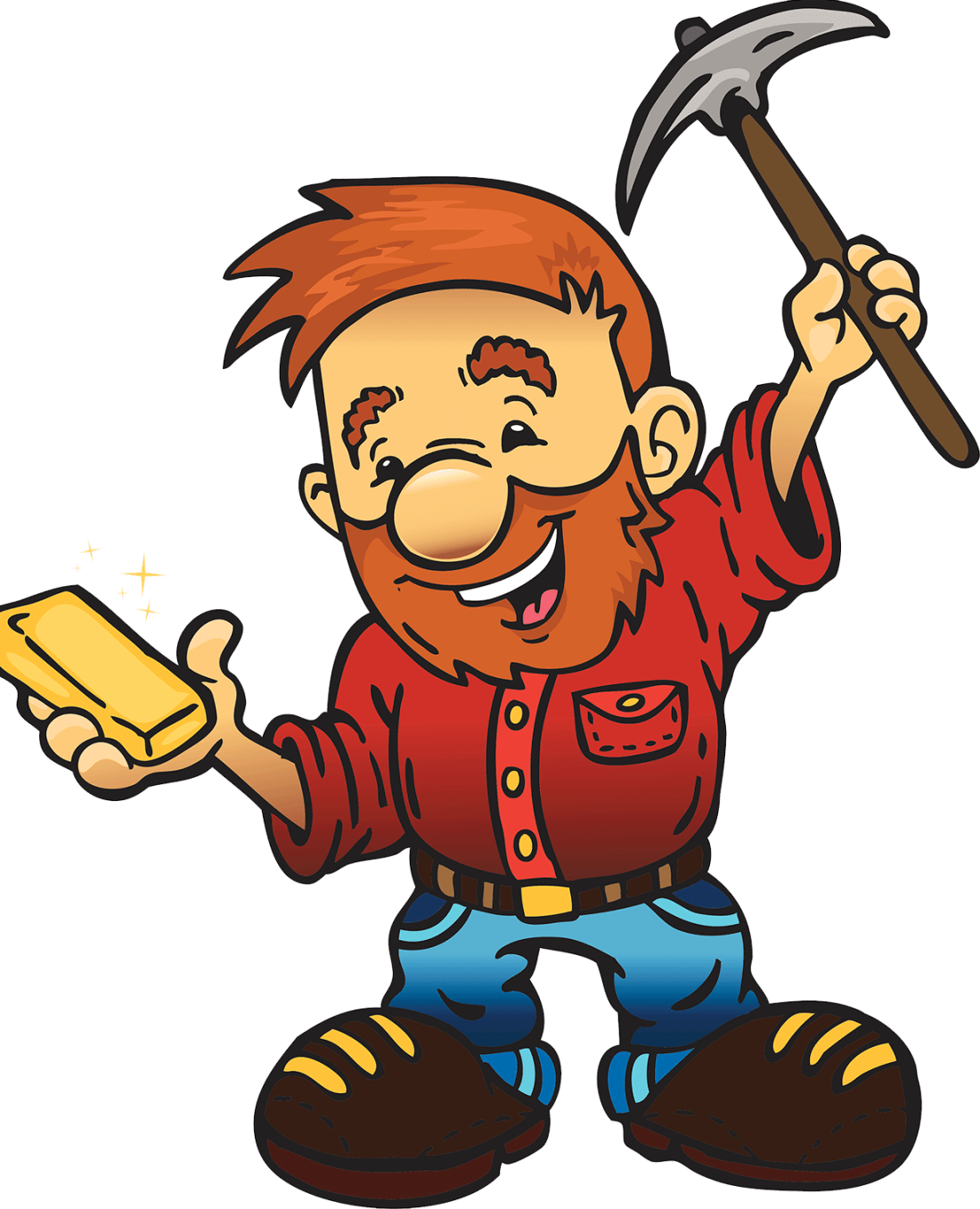 Miner holding gold and pick axe