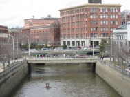 The Kenduskeag stream flows through downtown Bangor in a concrete canal before emptying into the bigger Penobscot River