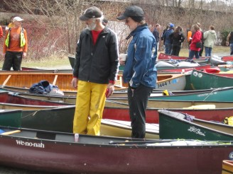 """These guys said they made it down the stream without """"dunking,"""" the term for tipping your canoe - usually in the rapids"""