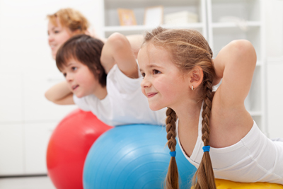 children exercising
