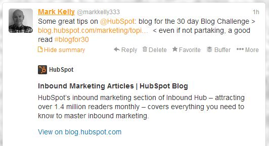 Hubspot 30day blogging challenge tweet