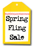 """A tag that says """"Spring Fling Sale"""""""