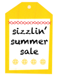 """A tag that says """"sizzlin' summer sale"""""""