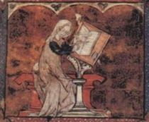 Marie de France, from an illuminated manuscript