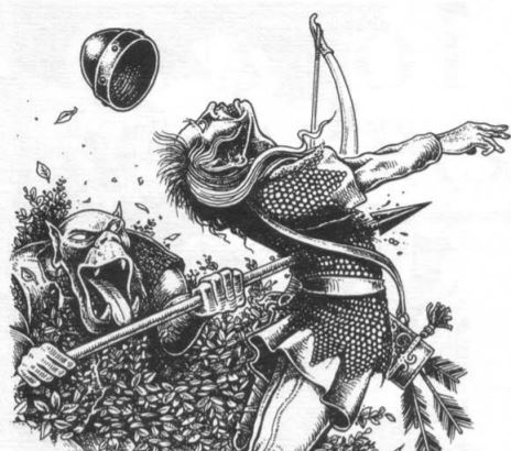 Orc skewering elf with a spear