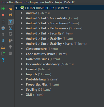 Android Studio Inspection results
