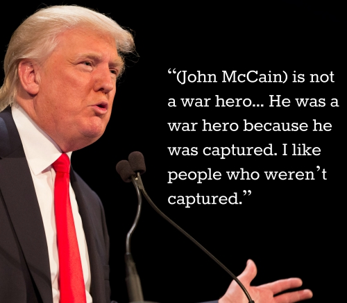 Image result for trump mccain not a hero