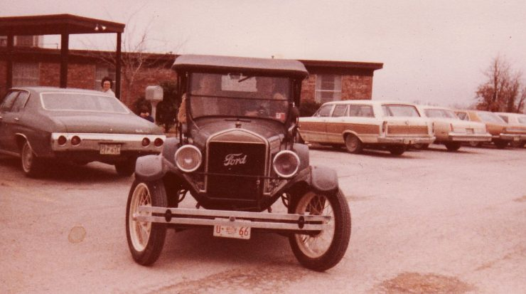 ford model t in front of nursing home