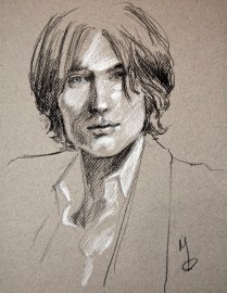 """""""John"""" Charcoal and chalk on paper 8.5""""x11"""" (2014)"""