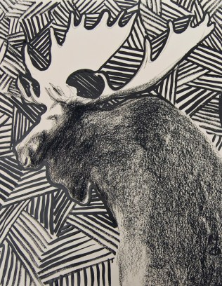 """""""Moose"""" Charcoal and ink on paper 8.5'x11"""" (2005)"""