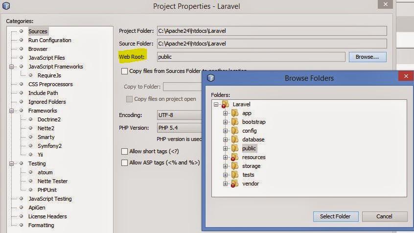 Running Laravel 5 in Netbeans 8 Using PHP Built-in Web Server