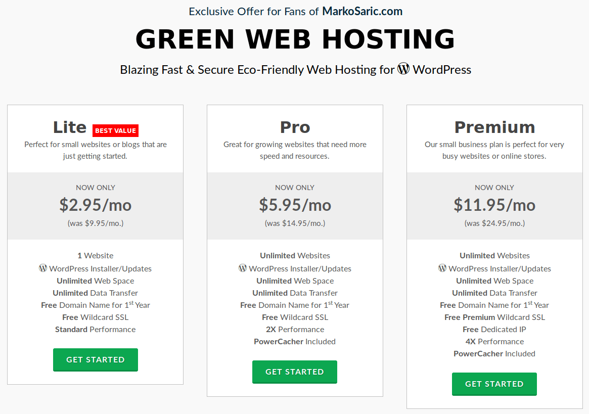Choose your green hosting plan