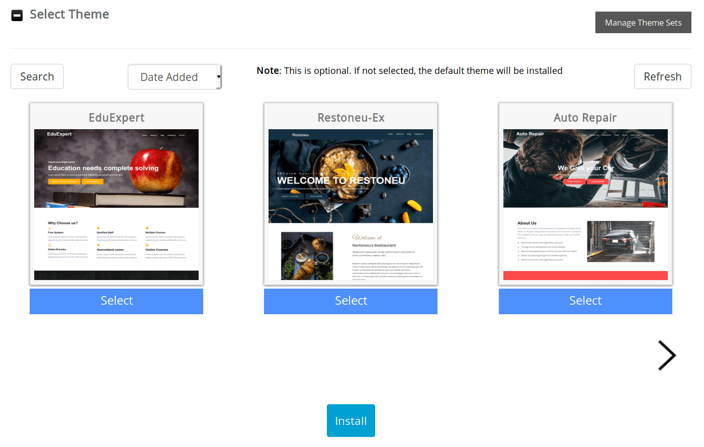 Select a theme and click install