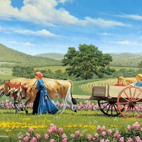 Country life painted by John Sloane