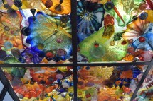 Ceiling on the Chihuly Bridge of Glass.