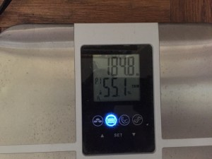 digital scale reading 184.8 pounds