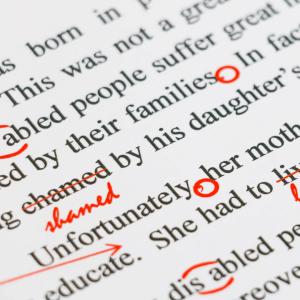 proofreading marks on a manuscript