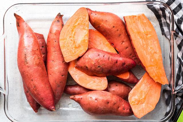 cut sweet potatoes for gluten free sweet potato souffle recipe