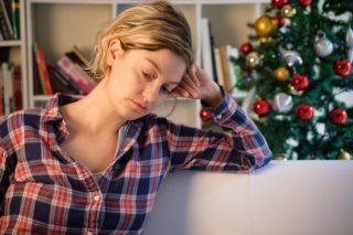 sad woman under holiday stress