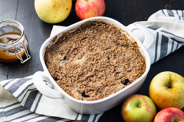 finished paleo apple dump cake in the baking pan