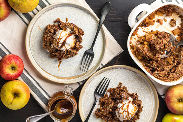 two servings of paleo apple dump cake on plates