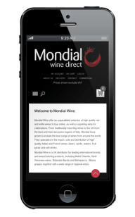 Mondial Wines Direct Website design on iphone