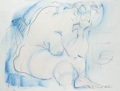Seated Nude Blue Chalk