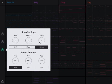 The menu for selecting a song's key, tempo, and the pump settings.