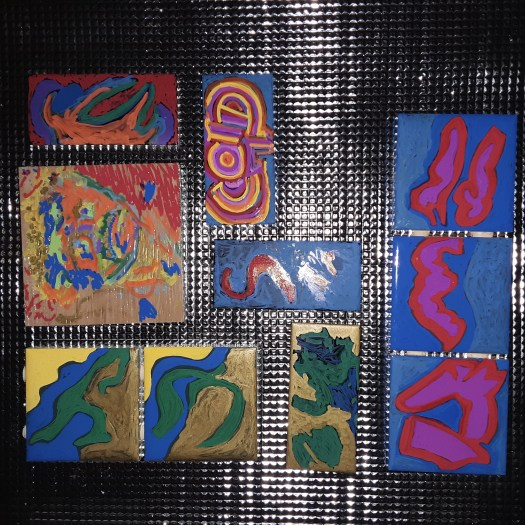 Some hand painted abstract colorful colors ceramic tiles