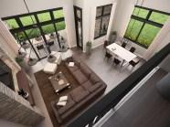 X-17-Mod Mark Stewart Modern House Plan Great Room