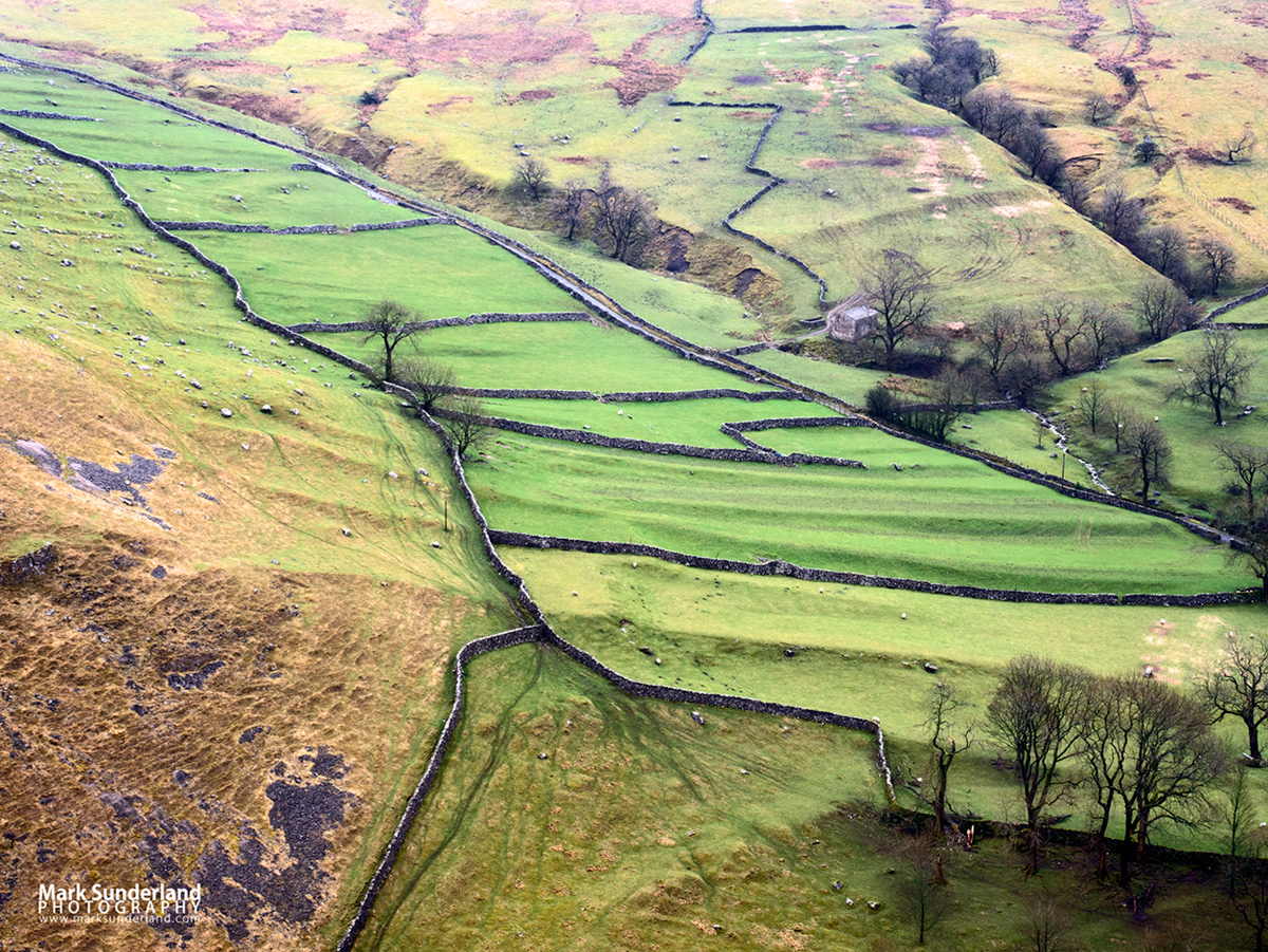 Meadows and dry stone walls rise up the hillside at Gordale Scar, Malham, Yorkshire Dales