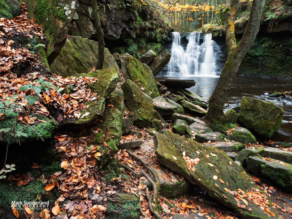 Goitstock Waterfall in autumn, Goitstock Wood, Cullingworth, West Yorkshire