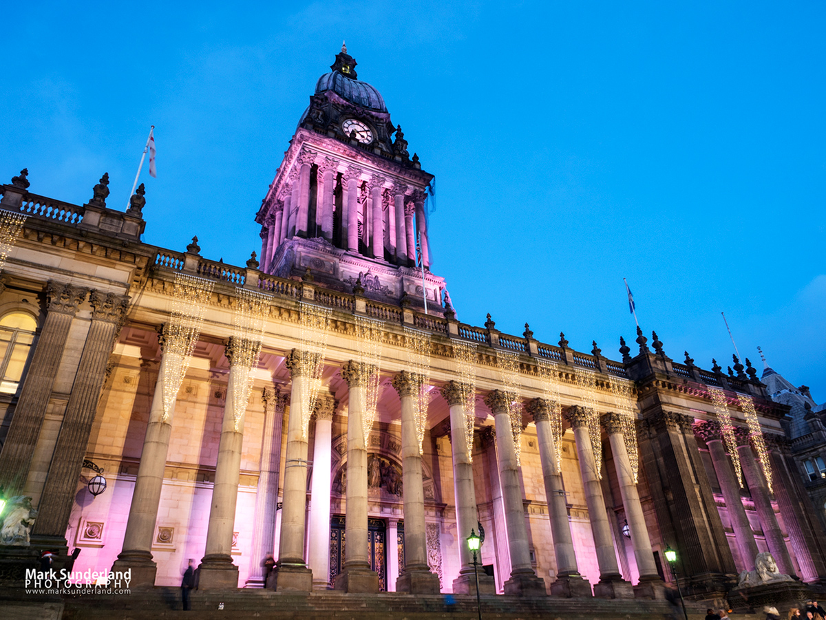 Lights on Leeds Town Hall at dusk at Christmas, The Headrow, Leeds, West Yorkshire