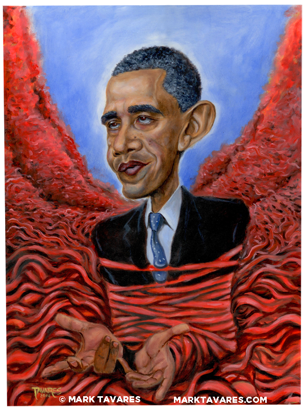 Painting of President Barack Obama surrounded by Government Red Tape