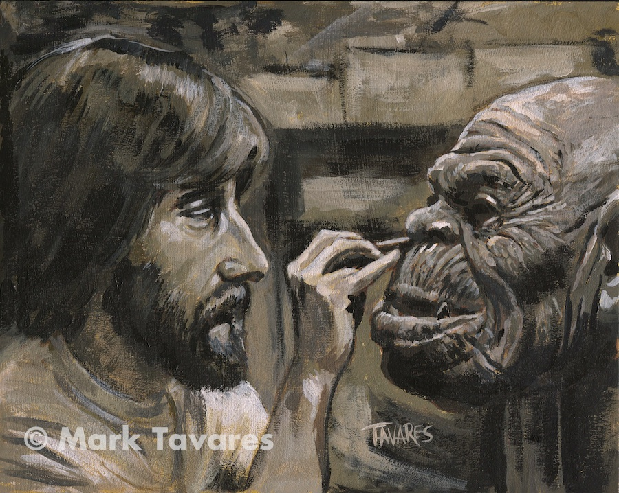 """Happy Birthday Rick Baker 2014"" 10 x 8. Acrylic on Masonite. © Mark Tavares"