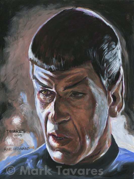 """Leonard Nimoy Tribute"" 8 x 10. Acrylic on Masonite. © Mark Tavares"