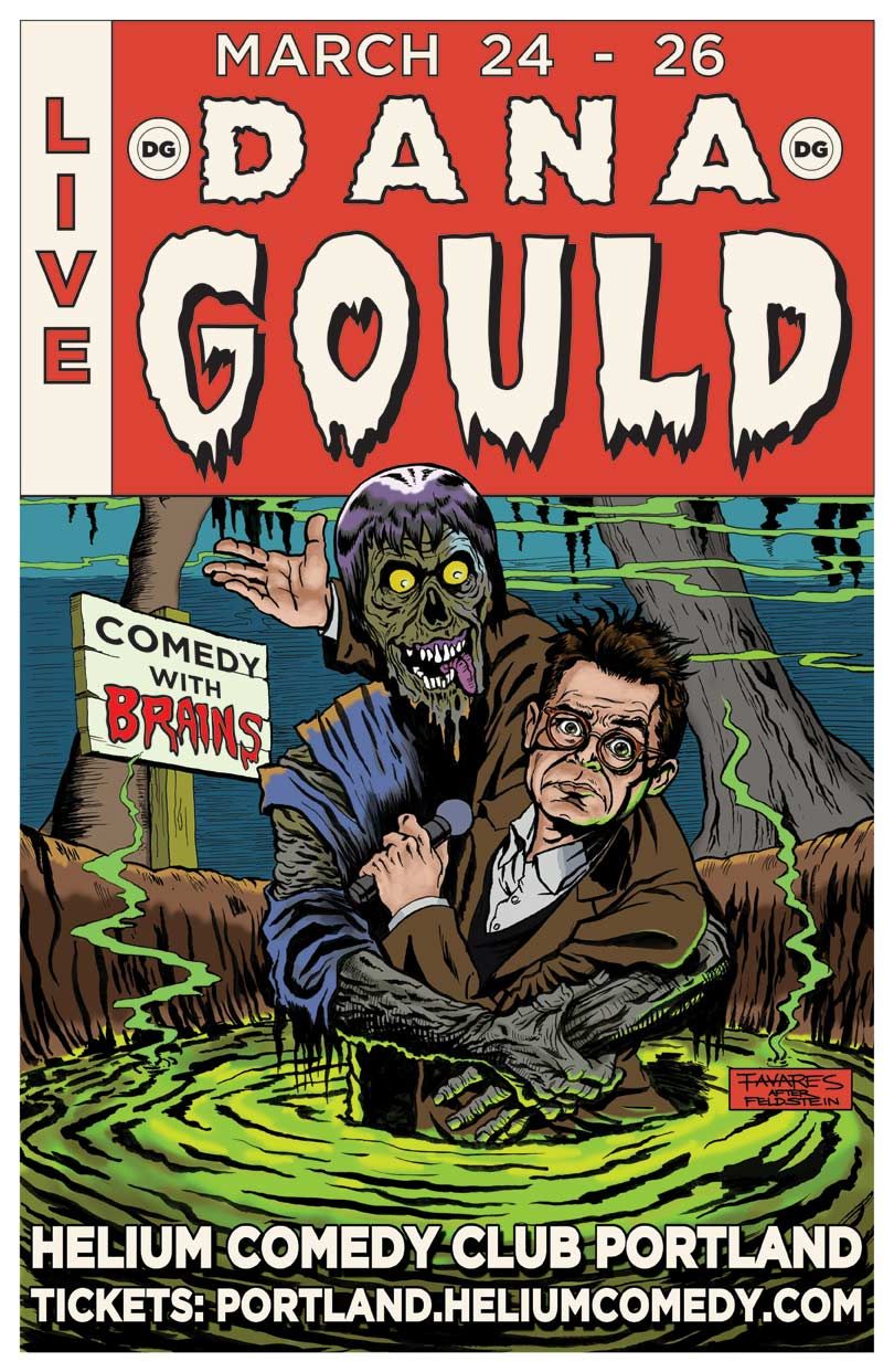 Dana Gould Helium Comedy Poster Art by Mark Tavares
