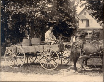 John Lewis on his wagon