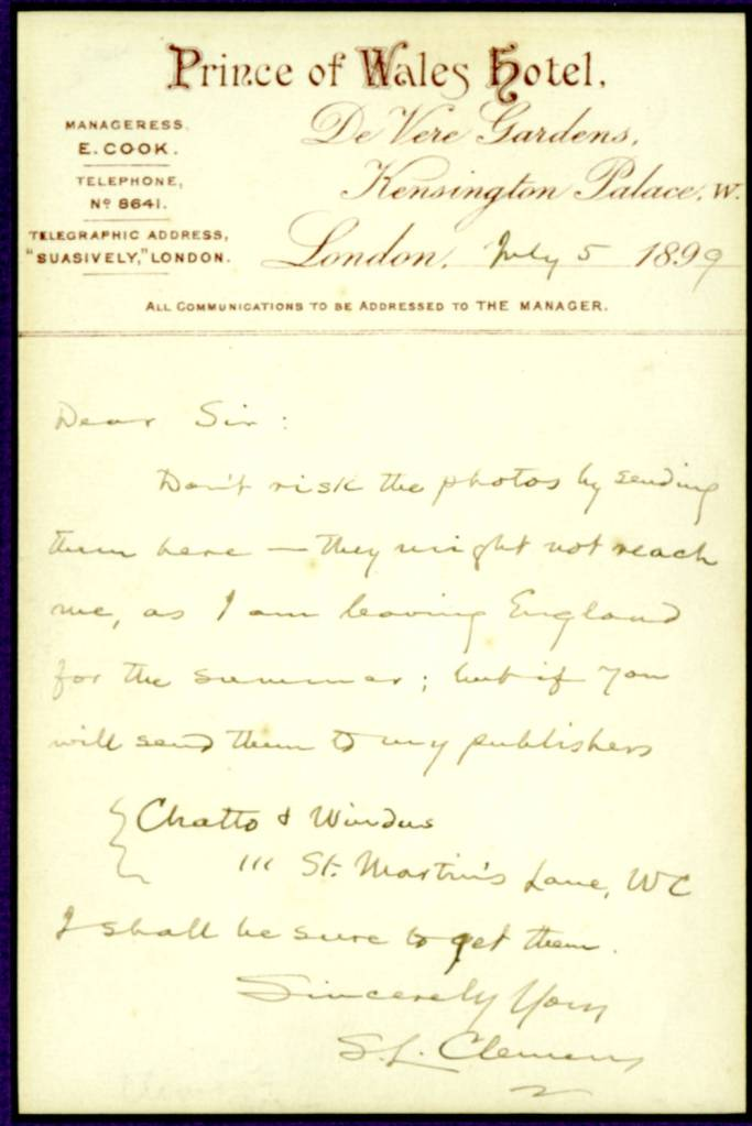 Clemens letter written to unidentified individual, 5 July 1899