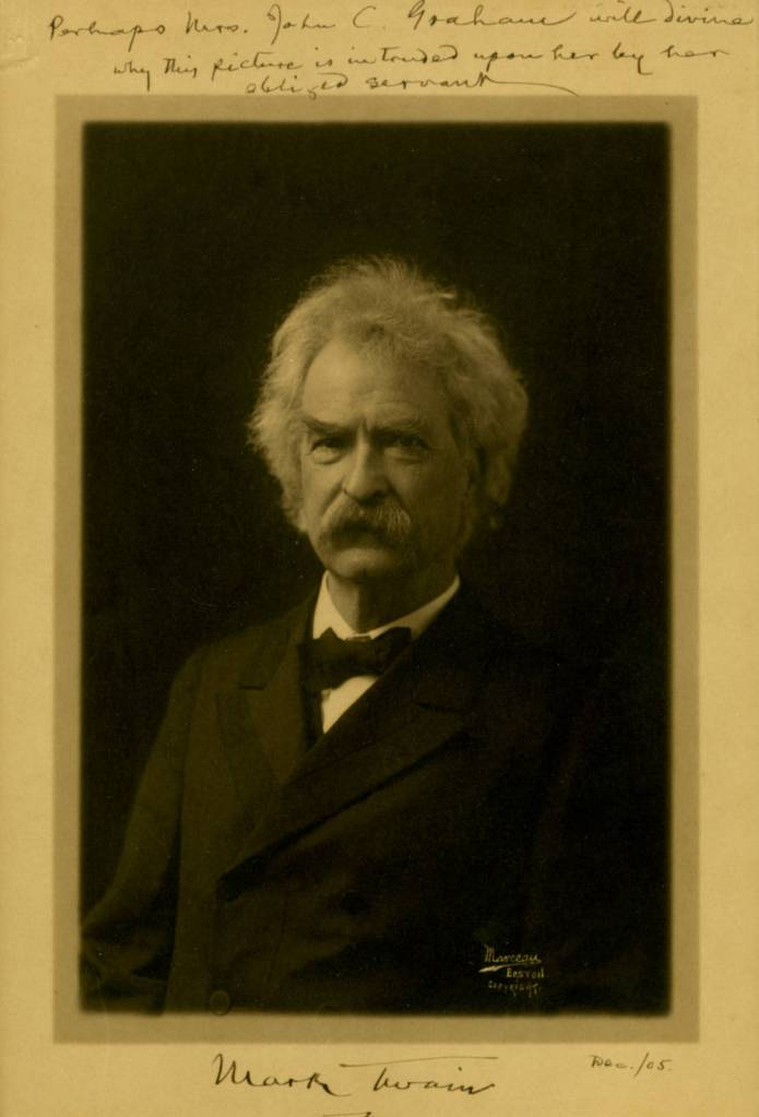 Signed Mark Twain photograph addressed to Mrs. John C. Graham, December 1905