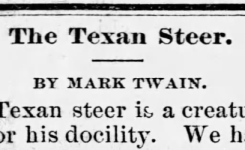 """The Texan Steer"": A Rediscovered Sketch by Mark Twain?"