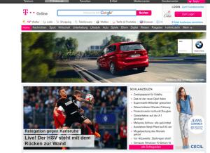 Bildschirmfoto der T-Online Startseite