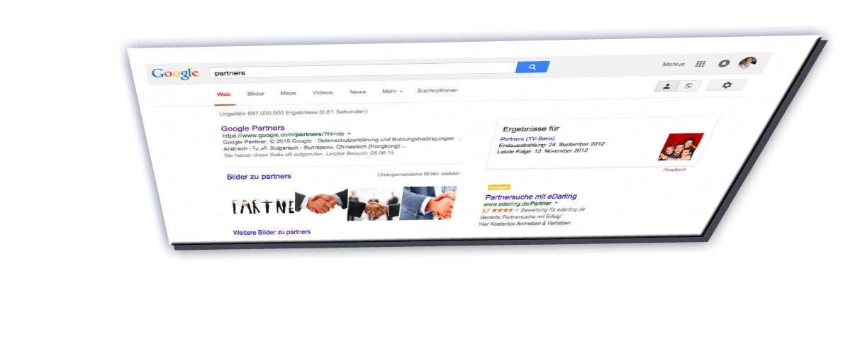 Bildschirmfoto verzerrt: Google Partners Programm (Websuche)