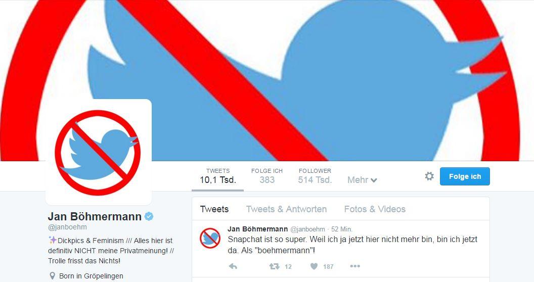 Böhmermann: Keine Torte, kein Twitter mehr