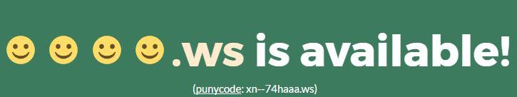 Dank Punycode kann man auch Domainnamen mit Emojis bilden, allerdings nur mir der Top Level Domain .ws