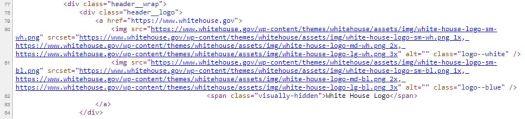Codefragment von Whitehouse.gov, das zeigt, dass WordPress das Content Management dafür ist.