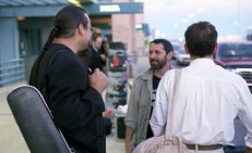 Steve Turre, TG, Jefferson Voorhees -- early departures at Albuquerque airport -- September 11, 1995 -- photo by Mark Weber