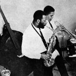 Ornette Coleman Quartet -- the mystery session -- the world is still waiting to hear some of Ornette's private rehearsal recordings of this band -- but the recordings from this session probably went up in flames in the fire of the Atlantic Vaults housed over a bakery in New Jersey, if I remember correctly . . . . Jimmy Garrison, Ornette Coleman, Bobby Bradford, Charles Moffett -- photographer unknown, from the collection of Bobby Bradford
